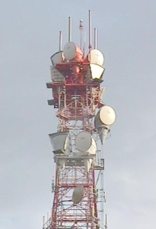 Microwave communications tower.